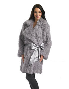 Slenderella Loungewear Mongolian Faux Fur 36'' Robe- Grey HC02363 X-Lge