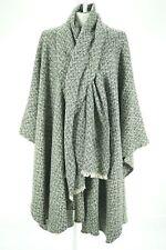 08807 Black White Woven Wool Blend Womens Walking Long Coat Jacket Cape L XL
