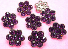 8 Sparkling 14mm Dark Purple Glass Rhinestone Metal Shank Buttons N056