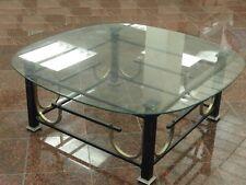 Mid Century Modern Ebonized & Gilt Steel (Iron) Coffee Table w/ Glass Top