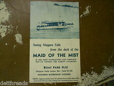 Niagara Falls Advertisement - Late 1950s - MAID OF THE MIST - Boat Trip