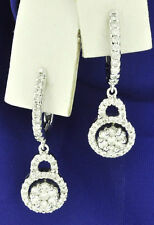 18k Solid White gold Natural Diamond dangling earring Stylish 0.90 ct cluster