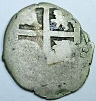 1600's Spanish Lima Silver 1/2 Reales Piece of 8 Real Colonial Treasure Cob Coin