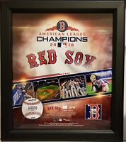 Boston Red Sox 2018 ALC 15x17 Framed Collage w/ Game Used Piece Of ALC BB #1/218