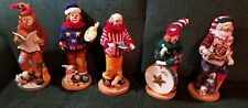 "Set of 5 12"" Resin Clown Figurines, Christmas, Hobo, Collectible Self Standing"