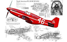 P-51 MUSTANG WWII FIGHTER PLANE CUTAWAY POSTER PRINT 22x36 HI RES