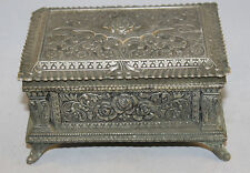 """Vintage French Heavy White Metal Trinket Box With Floral Design 5.5"""" x 3.5"""" x 3"""""""