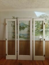 Antique French Doors With Cut Beveled Glass Triple Door