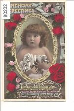 B0232cgt Greetings Birthday True and Locing Child Tinted Beagles vintag postcard