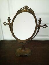 Ancien Miroir Sur Pied Pivotant Psyché De Table Bronze Ou Laiton H. 39 Cm