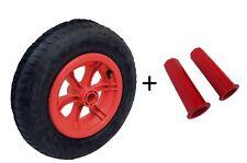 "RED SPOKED wheelbarrow Trolley Wheel Pneumatic 16"" Tyre 4.80 - 8 WITH 20MM GRIPS"