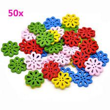 50pcs Fancy Wood Flower DIY Craft Buttons Scrapbook Sewing Buttons Mixed Colors