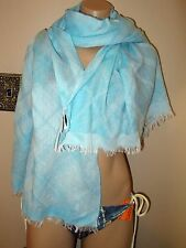 Guy Laroche Paris Plaid Scarf Silk Viscose Teal Blue White LARGE Made in Italy