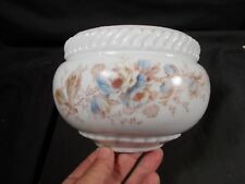 New listing Victorian Hand Painted Floral Milk Glass Hanging Oil Lamp Font Holder pc. c1880s