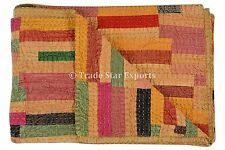 Patchwork Kantha Quilt Queen Stone Washed Brick Kantha Ralli Vintage Art Throw