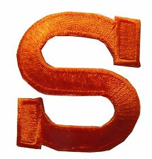 """1 3/4"""" Orange Letter """"S"""" Embroidery Iron On Applique Patch"""