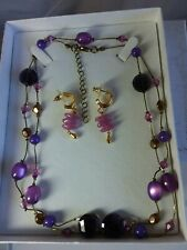 Purple Toned Long Necklace and earrings