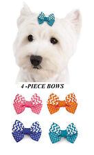 4 pc Chevron Stripes&Dots GROSGRAIN RIBBON BOWS w/Band DOG Grooming Top Knot
