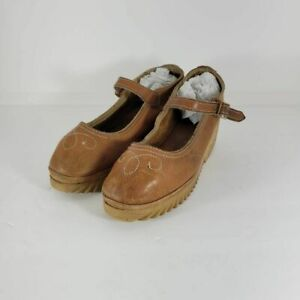 Cherokee Womens Mary Janes Wedge Platform Heels Shoes Brown Ankle Strap 8.5