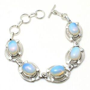 "Milky Opalite Gemstone Handmade 925 Sterling Silver Jewelry Bracelet Sz 7-8"""