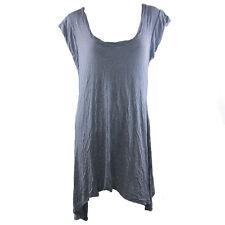 Women's Ladies Casual Short Sleeved Plain Loose Grey Dress U Neck Size 12