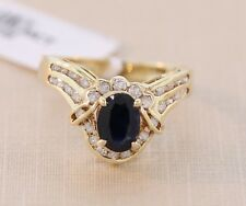 Natural Oval-cut Solitaire Sapphire round Diamond ring 14k yellow gold