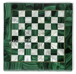 """13"""" Marble Coffee Table Top Malachite Stones Inlaid at Border Chess Board Table"""