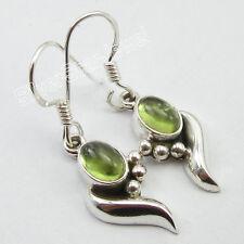 925 Solid Sterling Silver Fabulous PERIDOT WORM Earrings 3.4 CM Global Jewelry