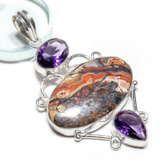 Crazy Lace Agate Gemstone 925 Sterling Silver Pendant Jewelry 2.5 Inch 1904