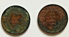 1862 & 1876 1/12 (One Twelfth) Anna Queen Victoria British India Coins