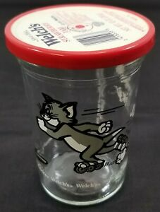 I) Vintage Tom & Jerry Glass Cup with Lid - Welch's Strawberry Jam Jelly 1990