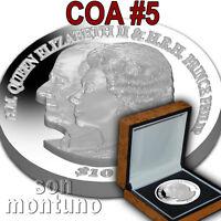 COA #5 Platinum Wedding Anniv 2 oz Silver Piedfort 2017 British Virgin Islands