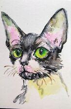 Devon Rex tuxedo cat art,cat pet lover best gift,original watercolor painting