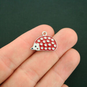 Hedgehog Charm Silver Plated and Red Enamel Adorable and Detailed - E439 NEW6