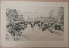 Belle Gravure Eau forte Originale Henry Wilfrid DEVILLE Paysage Paris Seine 1932