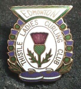 Vintage Curling Club Pin - Edmonton Thistle Ladies Curling Club