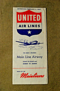 United Airlines System Timetable - Feb 1, 1947