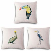 Parrot Crane Linen Cotton Throw Pillow Case Cushion Cover Home Sofa Decor