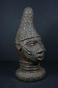 African BENIN Bronze Queen Mother Head - Nigeria Benin, TRIBAL ART CRAFTS