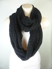Black black knit Infinity wrap Boho cape Scarf
