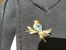 Tiffany & Co. 18k Yellow Gold Aquamarine and Diamond Dove Bird Brooch