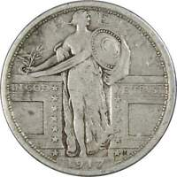 1917 Standing Liberty Quarter F Fine 90% Silver 25c US Type Coin Collectible