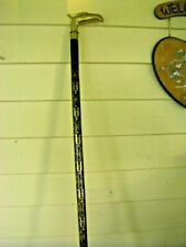 "Detailed Attractive 35"" Walking Cane with Brass Tip and Handle"