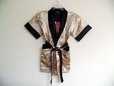 Thai Silk-Blend Child's Robe / Kimono Gold Reversible Dragon/Unisex-M (New)