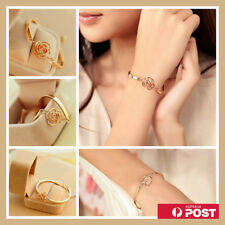Fashion Women Rose Flower Gold Bangle Crystal Charm Cuff Bracelet Wristband Gift