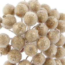 200pcs Mini Christmas Frosted Fruit Berry Holly Artificial Flower Decoration