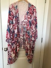 Womans Liberty Style Open Cardigan Floral With Lace On Back 3Xl Nwt