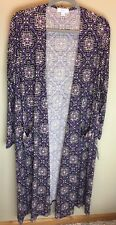 LuLaRoe L Sarah Long Sleeve Cardigan- Purple with Pixelated Pattern
