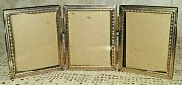 "Vintage Metal Gold Tri-Fold Embossed Photo Picture Frame 3 1/4"" x 4 1/2"""