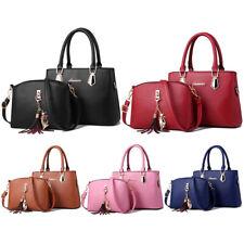 2Pcs Women Satchel Handbags Shoulder Purses Tote PU Leather Handle Work Bags Set